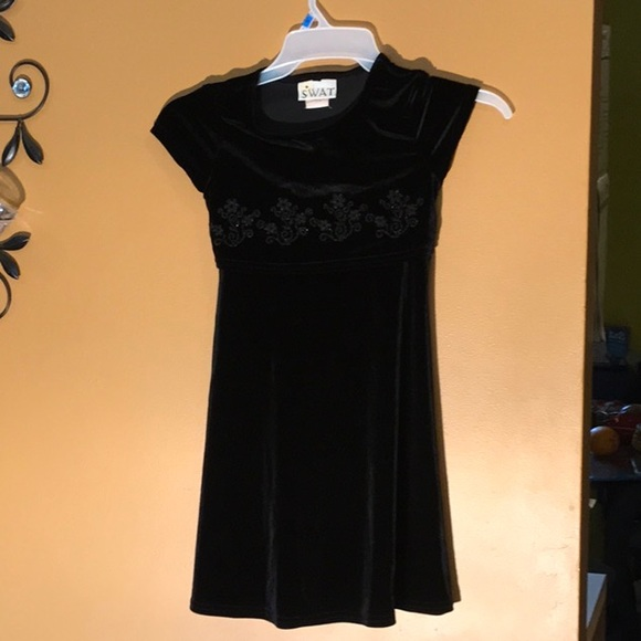 swat Other - Girls black dress with flower embroidery size 7
